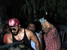 Photos of Bollywood actor Ranveer Singh spotted at Otters Club, Bandra.