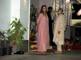 Jaya Bachchan with Esha Deol at Hema Malini's 68th Birthday Bash Party.