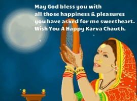 May you enjoy your beautiful married life and may no one cast his evil eyes on your wonderful loving relationship! Happy Karwa Chauth!