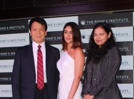 Photos of Actress Ileana D'Cruz and Amy Jackson during the launch of Pond's Institute and Pond's Skincare products in Mumbai on Oct. 18, 2016.