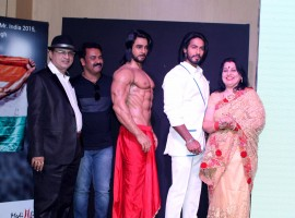 Actor Jackie Shroff unveils a wax model of Anoop Singh Thakur (Mr World 2015) at Westin hotel, he is the second sportsman after Kapil Dev to be immortalised in wax at the wax museum.