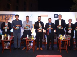 India Test captain Virat Kohli, chief coach Anil Kumble, team director Ravi Shastri, former Indian cricketers Kapil Dev and Virender Sehwag during the book release