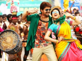 Bairavaa is an upcoming Tamil action thriller movie written, directed and produced by Bharathan. The film stars Vijay and Keerthy Suresh in the lead role, while Aparna Vinod, Papri Ghosh, Sathish, Rajendran, Jagapathi Babu, Daniel Balaji, Mime Gopi, Harish Uthaman, Sharath Lohitashwa, Sreeman, Y.G. Mahendra, Vijayaraghavan, Sugunthan, Prabhu in a cameo, Santhanam, Baby Monika Siva and Roshan Basheer appears in the supporting role. The songs and background score for the film are composed by Santhosh Narayanan.