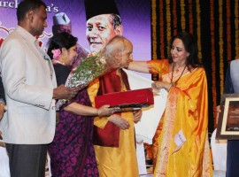 Photos of Hema Malini, Pandit Jasraj at Ustad Bismillah Khan centennial celebrations.
