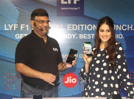 Photos of Bollywood actress Genelia D'souza launches Reliance Jio special edition Lyf F1 smartphone.