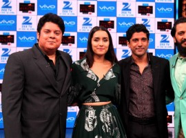 Photos of Bollywood filmmaker Sajid Khan, actors Farhan Akhtar, Riteish Deshmukh and Shraddha Kapoor during the shooting of Zee TV show Yaaron Ki Baraat, in Mumbai.