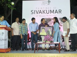 Paintings of actor Sivakumar Book Launch event held at Chennai. Celebs like Suriya, Karthi, N Lingusamy, Tamilaruvi Manian, Rajiv Menon, Vasanth and others graced the occasion.