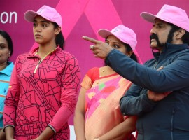 Photos of TDP MLA and Actor Nandamuri Balakrishna, actress Manchu Lakshmi and TRS MP Kavitha have participated in Breast Cancer Awareness Pink Walk which was held at KBR Park in Hyderabad.
