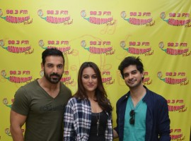 Photos of Bollywood actor John Abraham, actress Sonakshi Sinha and Tahir Raj Bhasin to promote Force 2 at Radio Mirchi Studio.