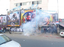 Photos of Dhanush Fans celebrates Kodi First Day First Show in Kasi Theatre in Chennai.