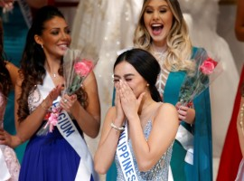 The winner of the Miss International 2016 Kylie Verzosa representing Philippines reacts as she was selected as the winner.