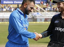 Indian skipper Mahendra Singh Dhoni won the toss and chose to bat against New Zealand in the fifth and final One-Day International (ODI) at the ACA-VDCA Cricket Stadium here on Saturday. The hosts have made two changes. Pacer Jasprit Bumrah and debutant off-spinner Jayant Yadav were included, leaving out seamer Dhawal Kulkarni and Hardik Pandya.