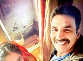 Akshay on Sunday took to Twitter, where he shared a photograph of himself with Bhumi. In the image, Bhumi is seen donning a red sari and vermillion on her forehead and Akshay is seen sporting a moustache. The two are seen posing in front of a toilet.