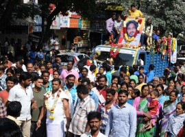 Funeral procession of actor Uday, who was died during shooting of a Kannada film Masti Gudi while enacting a stunt scene by jumping from a helicopter; in Bengaluru on Nov. 10, 2016.