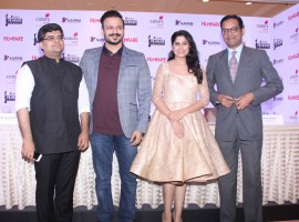 Photos of Bollywood actors Vivek Oberoi, Sai Tamhankar and Anuj Poddar, Business Head, Viacom 18 Media Private Limited during the press conference of Filmfare Awards Marathi in Mumbai on Nov 16, 2016.