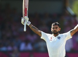 Indian skipper Virat Kohli slammed his 14th century in his 50th Test match, against England at the ACA-VDCA Cricket Stadium here on Thursday. It was his seventh Test hundred as the Indian captain. India were 210/2 at tea, after winning the toss and choosing to bat on the first day of the second Test here. Kohli (91 not out) and Pujara (97 not out) were unbeaten then.