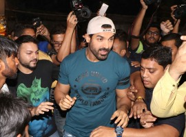 Photos of Bollywood actor John Abraham promotes Force 2 at Gaiety Galaxy theatre.