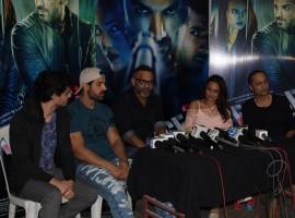 Photos of actors John Abraham, Sonakshi Sinha, Tahir Raj Bhasin, filmmakers Vipul Shah and Abhinay Deo during media interaction of the film Force 2, in Mumbai, on Nov 18, 2016.