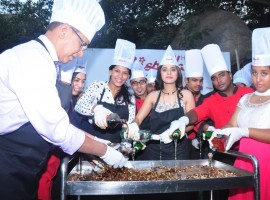 Photos of South Indian Actress Yamini Bhaskar participates in Christmas cake mixing ceremony at Hotel Daspalla in Hyderabad.