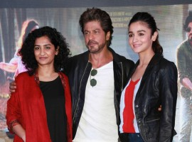 Actors Shah Rukh Khan, Alia Bhatt and filmmaker Gauri Shinde during a press conference to promote