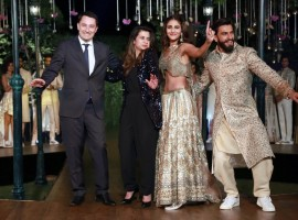 Photos of Actors Ranveer Singh and Vaani Kapoor during the cinema-inspired ethnic wear fashion brand