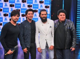 Photos of Singers Shaan and Himesh Reshamiya during on the sets of Yaaron Ki Baraat, in Mumbai, on Nov 23, 2016.