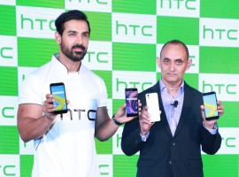 Actor John Abraham with HTC President (South Asia), Faisal Siddiqui at the launch of HTC Desire 10 Pro in New Delhi, on Nov 23, 2016.