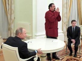 Vladimir Putin meets with Steven Seagal at the Kremlin. Seagal is the latest Western celebrity to have been given a Russian passport in the past few years. In 2013, Gerard Depardieu, a French actor, was given citizenship by Putin.