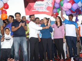 Mega Power Star Ram Charan, Actress Rashi Khanna, Tennis star Sania Mirza, Telangana IT and Municipal Administration Minister KTR have participated in 10K Run, which has been organised at People's Plaza in Hyderabad in order to promote Health and Fitness.