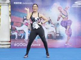 Photos of Bollywood actress Lauren Gottlieb at the skechers Go Goa dance press conference.