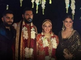 Virat Kohli, Anushka Sharma at Yuvraj Singh-Hazel Keech's wedding in Goa.