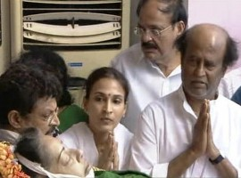 Tamil superstar Rajinikanth and popular actors Vijay and Dhanush paid their last respects to Tamil Nadu Chief Minister J. Jayalalithaa who died here on Monday night. Rajinikanth paid his respects with his wife and daughters.