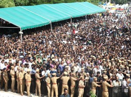 A steady stream of people are paying their last respects to Tamil Nadu Chief Minister and AIADMK General Secretary J. Jayalalithaa who died here on Monday.