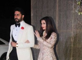 Photos of Bolywood actors Aishwarya Rai and at Manish Malhotra's 50th birthday bash.