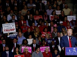 U.S. President-elect Donald Trump speaks at a USA Thank You Tour event at Crown Coliseum in Fayetteville, North Carolina, U.S., December 6, 2016.