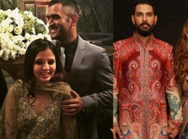 MS Dhoni and his wife Sakshi Rawat, Harbhajan Singh and his wife Geeta Basra, Sourav Ganguly attend Yuvraj Singh and Hazel Keech's wedding reception.