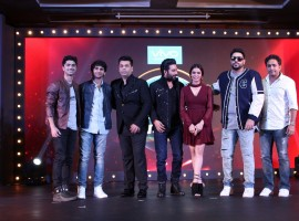Punjabi singers Jumbo, Jutts, filmmaker Karan Johar, music composer Shekhar Ravjiani, singer Shalmali Kholgade, and Rapp singer Badshah and Ranjeet Thakur, Founder, Frames Productions during launch of new reality show of Dil Hai Hindustani on the TV channel Star Plus in Mumbai, on Dec 6, 2016.