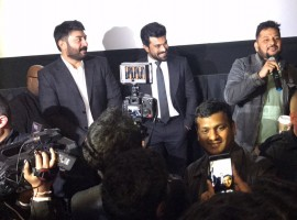 Telugu Movie Dhruva special screening held last night in US. Celebs like Ram Charan and Aravind Swamy spotted at special screening.