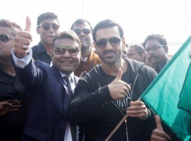 Photos of Bollywood Actor John Abraham during inauguration of India Speed Week at Behala Flying Club in Kolkata on Dec 9, 2016.