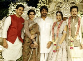 Naga Chaitanya, Samantha at Akhil Akkineni and Shriya Bhupal's Engagement.