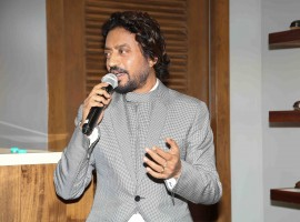 Photos of Bollywood actor Irrfan Khan visits Johnston & Murphy store.