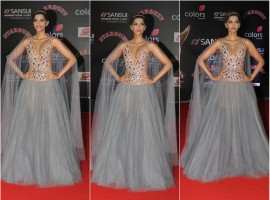 Bollywood actress Sonam Kapoor poses for the cameras at Sansui COLORS Stardust Awards.