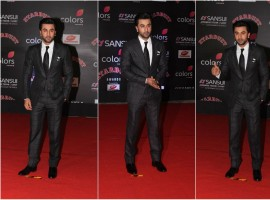 Ranbir Kapoor poses for the shutterbugs at the Sansui COLORS Stardust Awards.