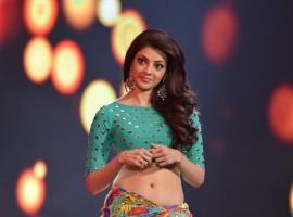 Actress Kajal Aggarwal stills from Khaidi no 150 movie for Ammadu lets do Kummudu Song.