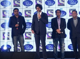 Celebs like Sonu Nigam, Farah Khan and Anu Malik along with show hosts Karan Wahi and Paritosh Tripthi at the launch of Sony Entertainment Television's upcoming singing reality show Indian Idol 9.