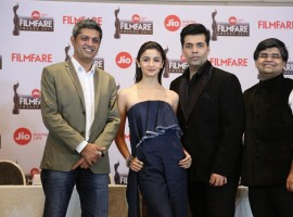 Worldwide Media CEO Deepak Lamba, actress Alia Bhatt, director Karan Johar and Filmfare editor Jitesh Pillai during the launch event of the 62nd Jio Filmfare Awards 2017 in Mumbai on Dec 23, 2016.