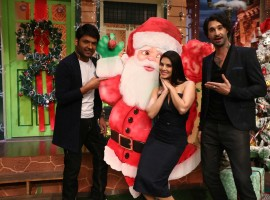 Bollywood actress Sunny Leone along with her husband Daniel Weber on the sets of The Kapil Sharma Show in Mumbai.
