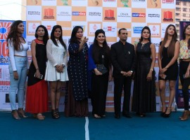 Yogesh Lakhani, CMD, Bright Outdoor Media and fashion designer Archana Kochhar along with the contestants during a press meet of Bright Perfect Miss India, Beauty Pageant in Mumbai, on Dec 24, 2016.