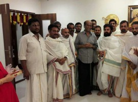 Kollywood Superstar Rajinikanth New Year special pooja at his residence.