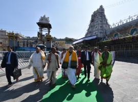 Prime Minister Narendra Modi offer prayers at the Sri Venkateswara Swamy Temple during his Tirupati visit on Wednesday.